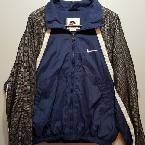 56ccf873b @devinesfinds. in 6 hours. Council Bluffs, Pottawattamie County, United  States. Vintage mens nike white tag swoosh zip up windbreaker jacket ...