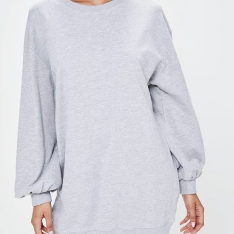 0f9cca63c68 Missguided grey oversized balloon sleeve jumper dress