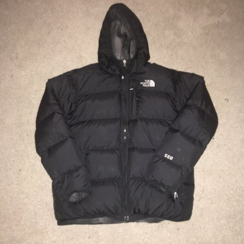 60920cacb68a North face puffer jacket 550 Size xs   Boys XL Reversible - Depop
