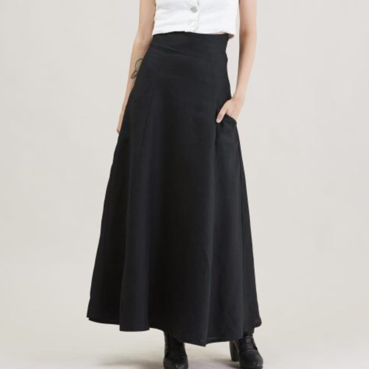 f8e641d422 @nakedghost. 2 years ago. Palmer, United States. FLUIR LINEN SKIRT by SOTBM Black  linen maxi skirt. High waist.