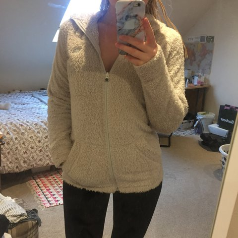 87e6fdea4 The north face cream fluffy fleece hoodie. Women's... - Depop