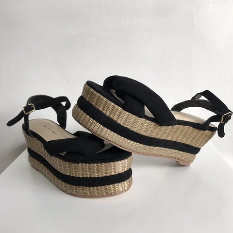 432b14251c3 Free People x Faryl Robin Vegan Leather Loom Wedge Talk a a - Depop