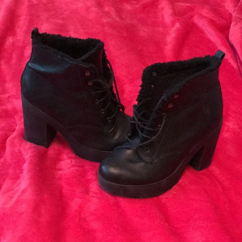 32ca4130559f chunky black ankle lace up boots with borg lining