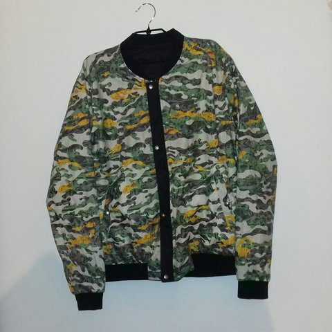 d30d29cfe4e Fully reversible army fatigue style bomber jacket! Different - Depop