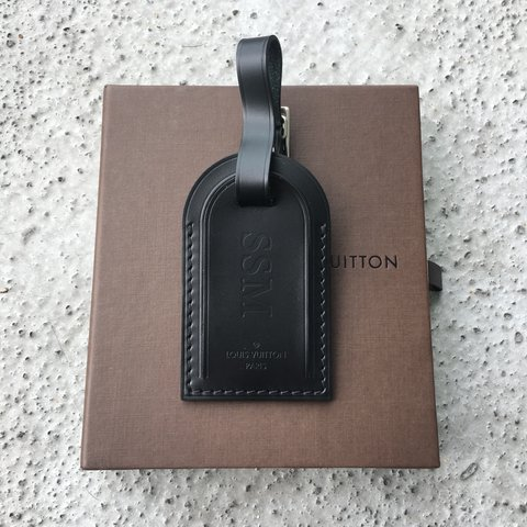 a2fc60c92613 Louis Vuitton Luggage Tag. Black. Initials read tag came - Depop