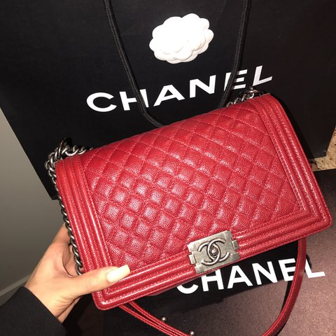 46db82d20f31 Caviar red Chanel boy bag! Gorgeous bag. Protective sticker - Depop