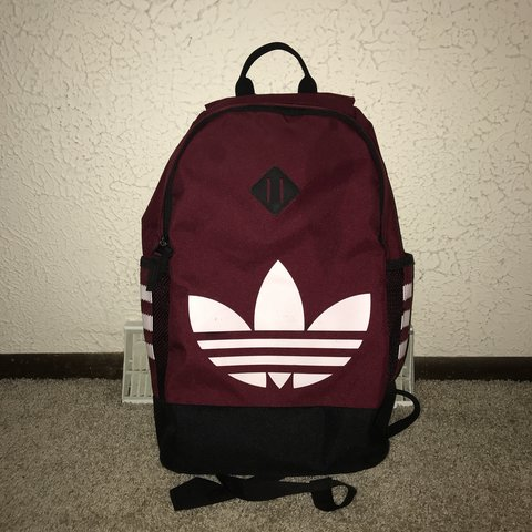 adidas Originals Trefoil Red Backpack! More of a maroon in - Depop 4b9d55b71a214