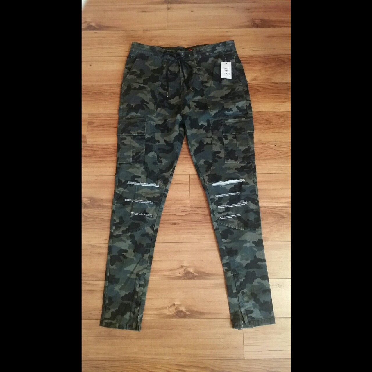 hot products shop for later NWT GUESS MENS CAMO CARGO PANTS Sizes Available:... - Depop
