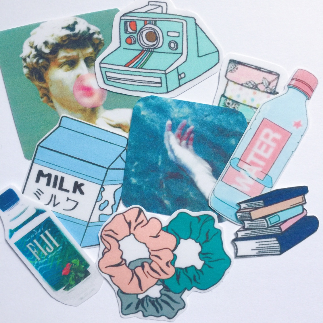 Set Of 9 Blue Aesthetic Stickers Will Ship In Depop