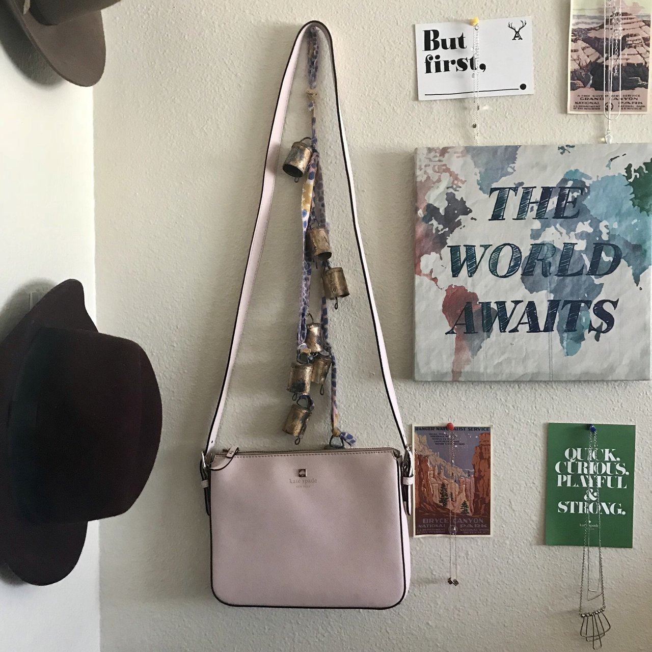kate spade baby pink crossbody purse. only worn 2-3 times. a - Depop 7bbe52401f69d