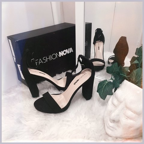 "d132e7658e8 Fashion Nova black faux-suede heel sandals in style ""Your - - Depop"