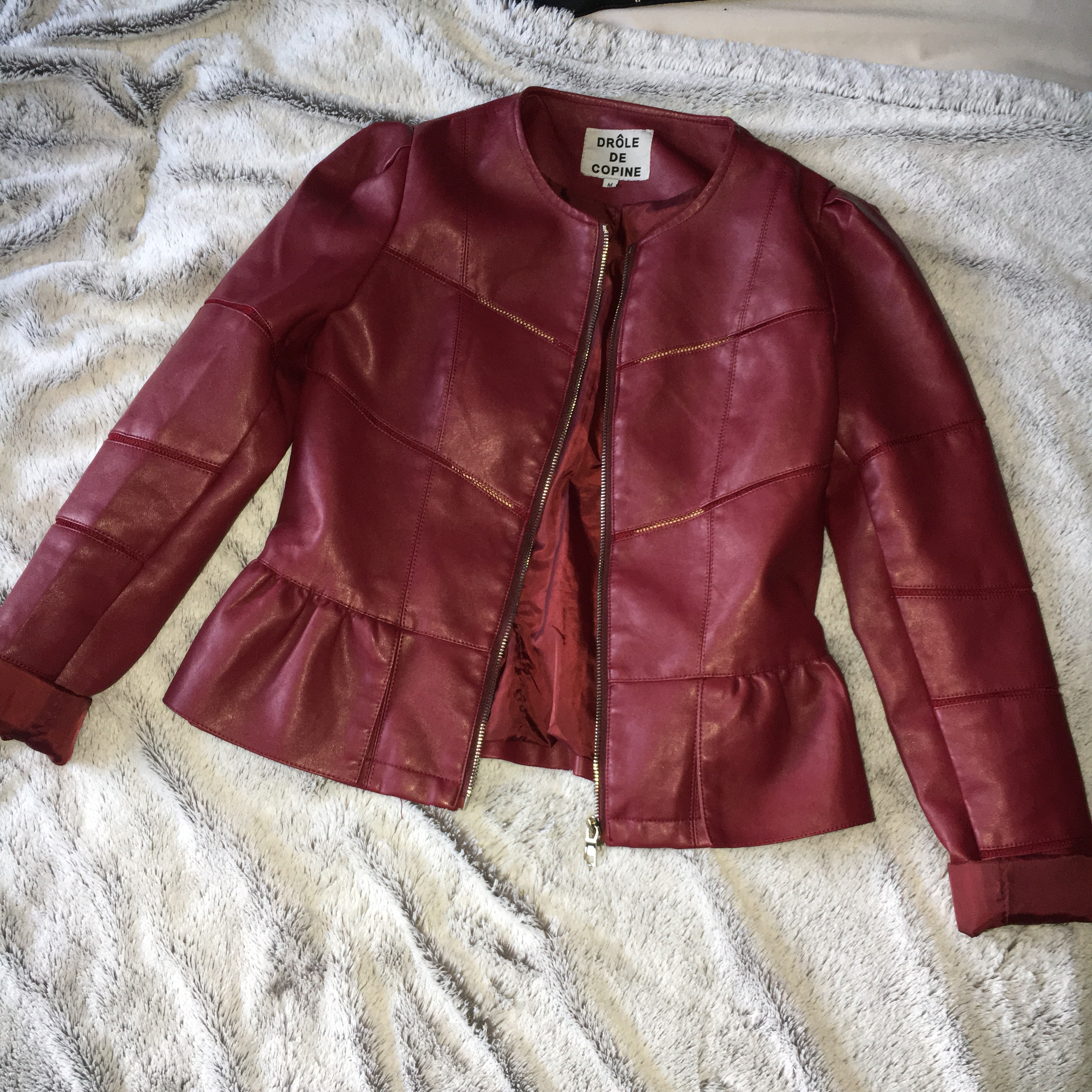 Red Wine Coloured Leather Jacket With Peplum Bottom Size M Depop