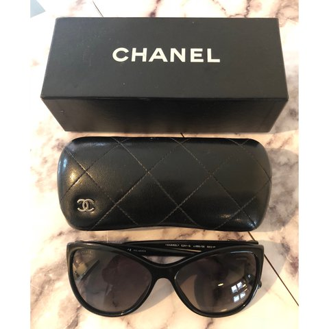 90ce68505277 Authentic CHANEL polarized cat-eye sunglasses. 5281-Q Black - Depop