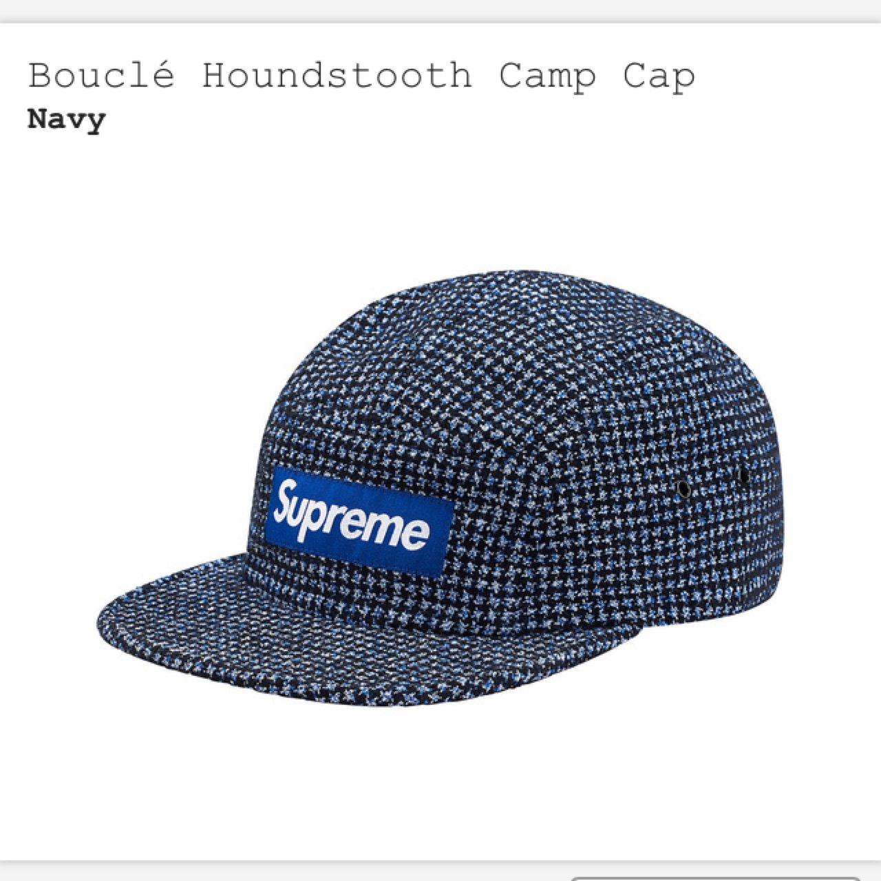 232344ea7b3 Supreme Boucle Houndstooth Camp Cap. Sold