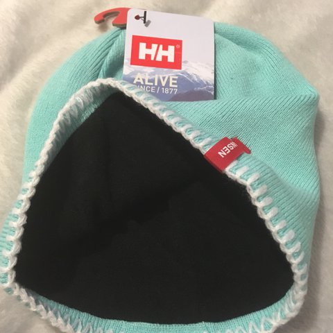 Helly Hansen mint beanie hat. Perfect condition with sizing. - Depop f0ba6725776