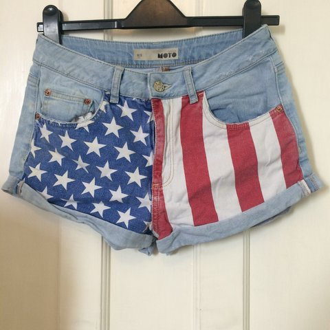 3f92abf175 Topshop American Flag Print Denim Shorts. Vintage look. is a - Depop