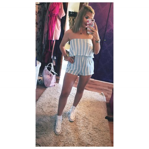 cabc80d47692c Pretty little thing blue and white striped bardot playsuit. - Depop