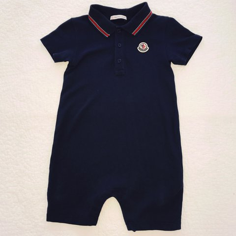 5bc8053f Moncler baby boys shortie Romper outfit in Navy with red/ on - Depop