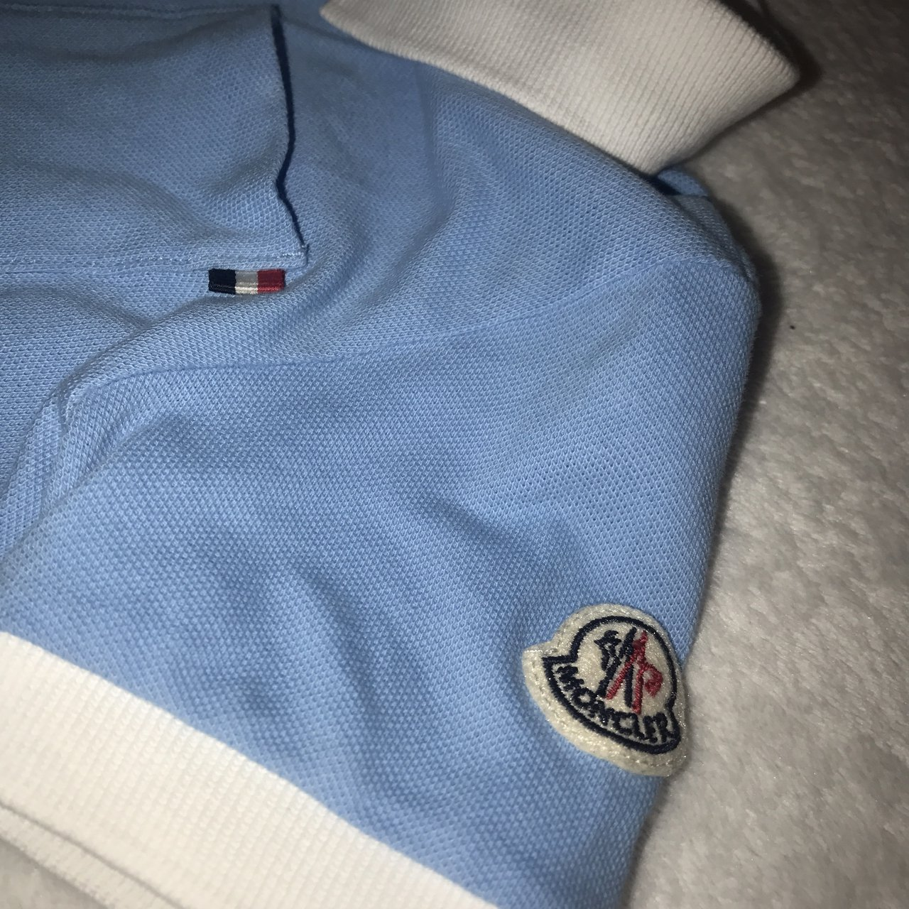 818ed6485909 Moncler baby boys blue 2 piece polo top and shorts set. blue - Depop