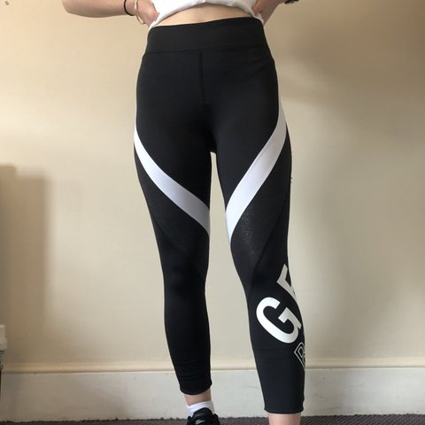 """eeeed538168e4 H&M black and white """"get ready"""" detailed gym leggings. good - Depop"""