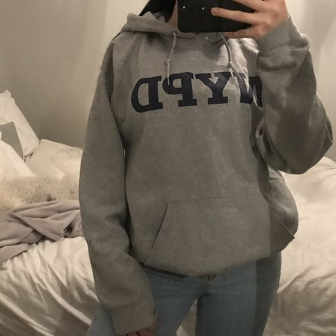 0474000df nypd grey hoodie. 7/10 condition. has one small mark as seen - Depop