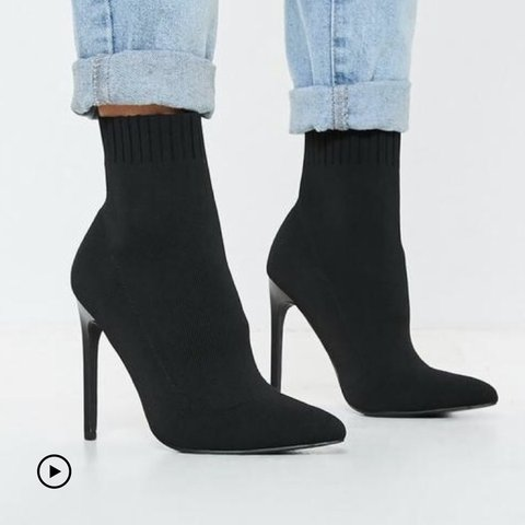 73c0b5bf0010 Missguided black knitted pointed toe sock ankle boots
