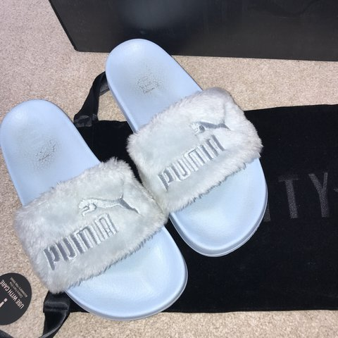 df51302e4913 RIHANNA PUMA FENTY Blue Slides. UK size 6 would easily fit a - Depop