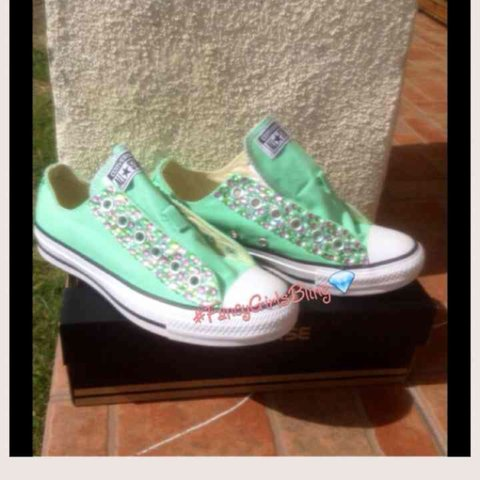 4cfd1ce56f46 New Custom Bling Converse in AKA colors size 7 in Womens. in - Depop