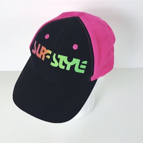 c03c52fea2c Vintage Surf Style hat with bright neon 90s colors. One me - Depop