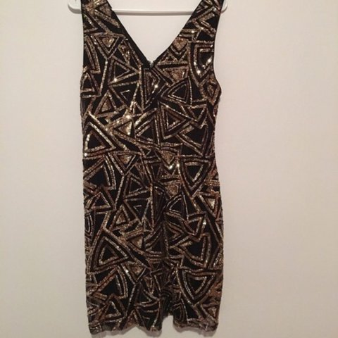 e45a6b558d3d @nik_esola. 2 years ago. New York, United States. Forever 21+ sleeveless  black, gold sequined dress. Worn once ...