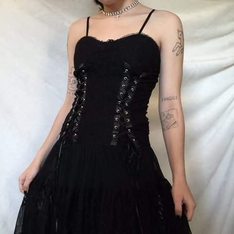 vintage gothic vampire black dress. labeled as a medium but - Depop 42deb1cb7