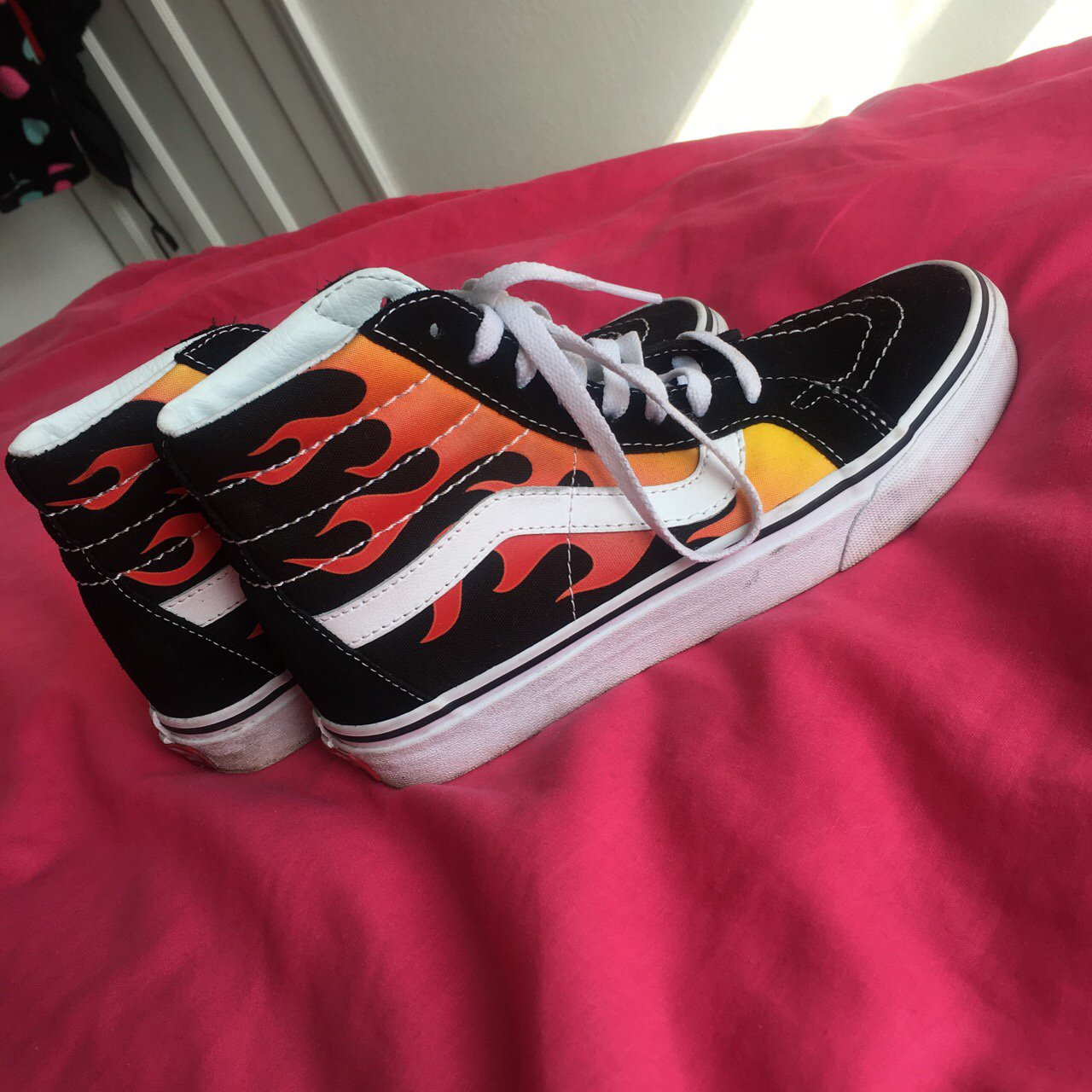 b5a561074647 interest check in my old skool high top flame vans in size 4 - Depop