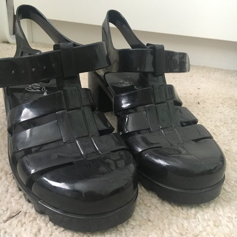 070c3549ea10 90 s style black platform jelly sandals! Perf for summer