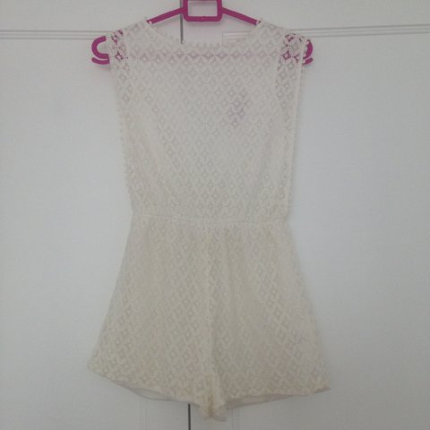 ac6352661b Boohoo white cream lace playsuit. Size 8. - Depop