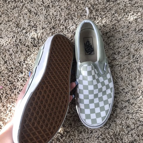cute olive checkered vans! only wore