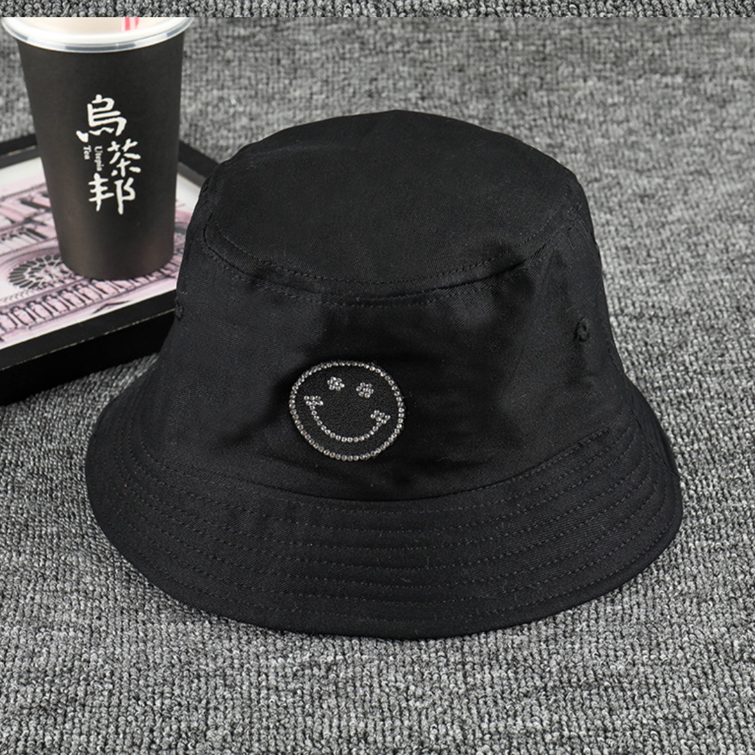 Cute Black Bucket Hat With Smily Face Unisex Depop