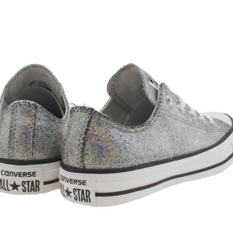 727bda373bb8 Silver Glitter Converse Size 4. Only worn once for less than - Depop