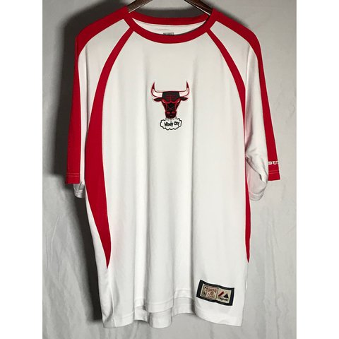 8e689d7dc White and red Hardwood Classics NBA Chicago Bulls basketball - Depop