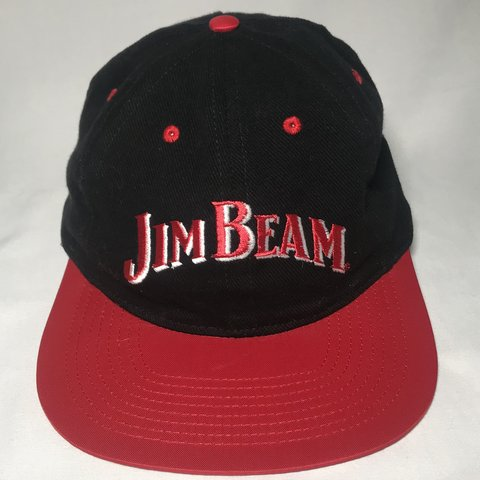6b0a985f Vintage 90s Jim Beam black, red, and white flat brim hat No - Depop