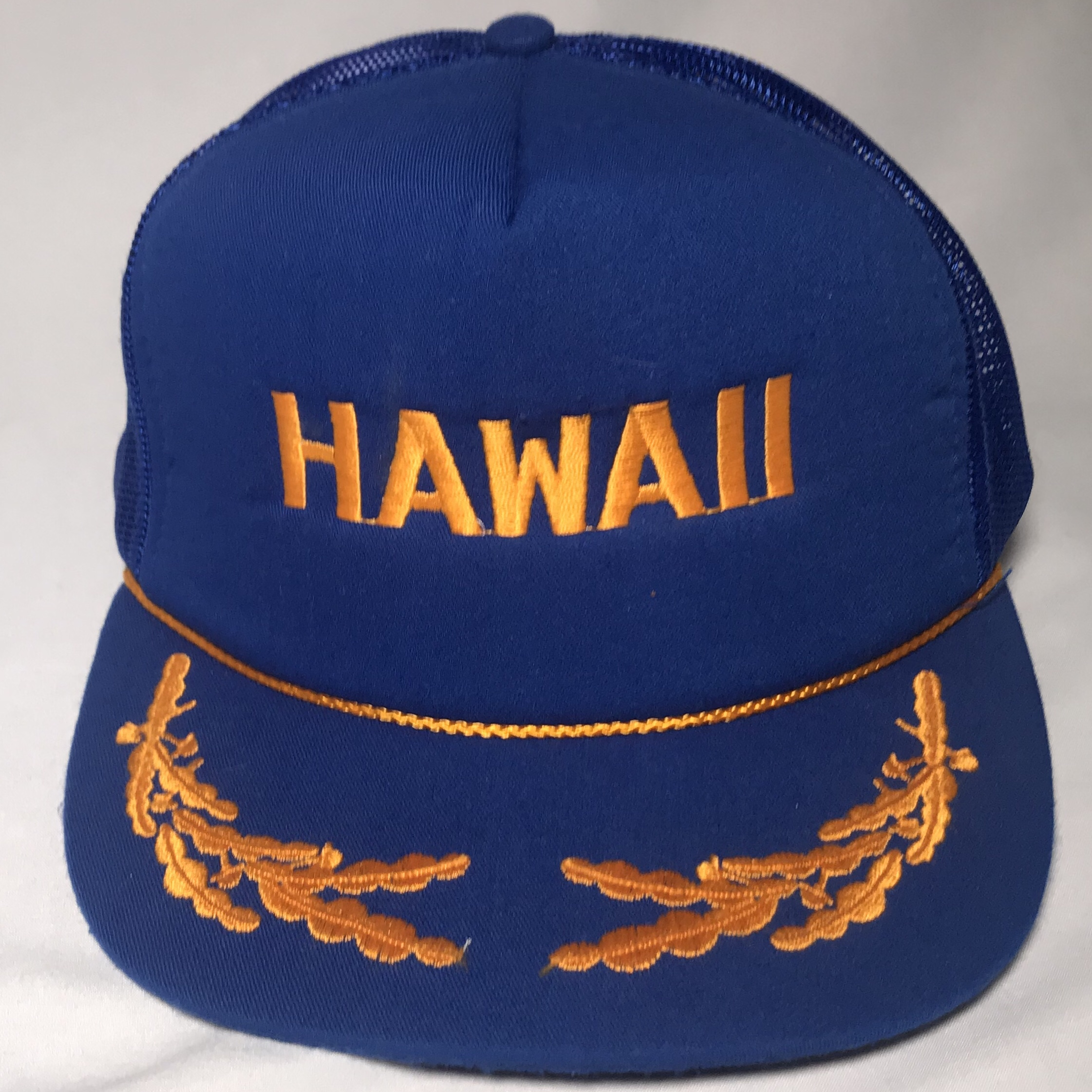 Vintage 80s Hawaii blue mesh and foam flat brim    - Depop