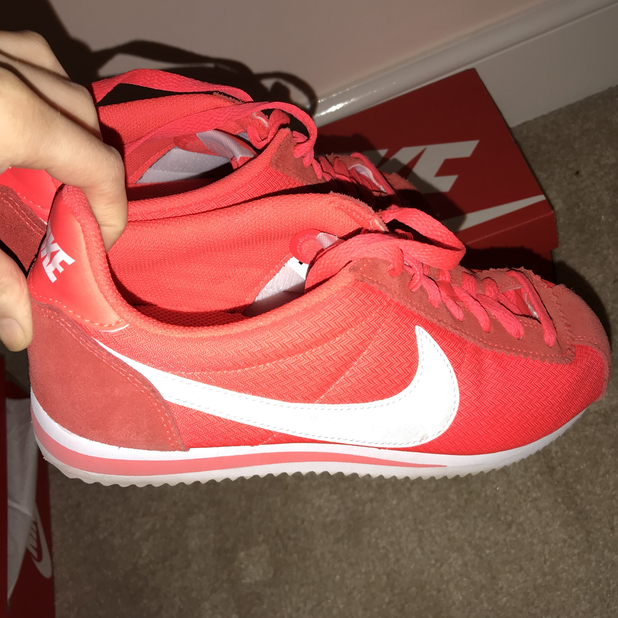 42397e0e0efd6 Orange and red Nike shoes. Only been worn a few times / for - Depop