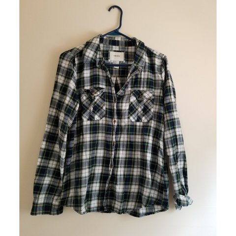 Forever 21 Green Blue   Yellow Plaid Flannel Button up Worn - Depop dab2fdcb8d7