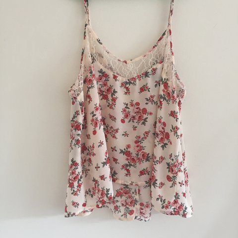 404efdb0d0a1d Cute vintage peachy rose cami tank top with white lace. Only - Depop