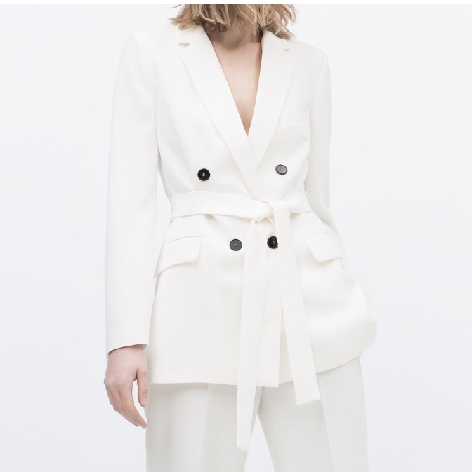 new high quality multiple colors utterly stylish White Zara Double Breasted Belted Blazer with black... - Depop