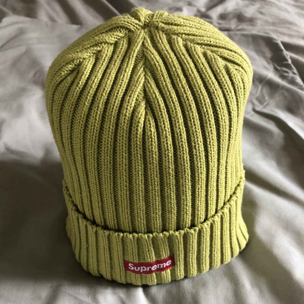 4b39cee6b4fba Supreme Over-dyed Ribbed Beanie Acid Green SS17 Perfect not - Depop
