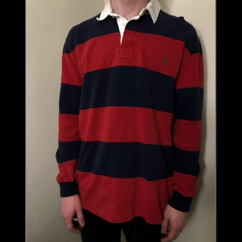 b0a88b5af91 @anselh99. 6 months ago. Pittsburgh, Allegheny County, United States.  VINTAGE 90's striped Polo Ralph Lauren rugby shirt. Red and blue with green  ...