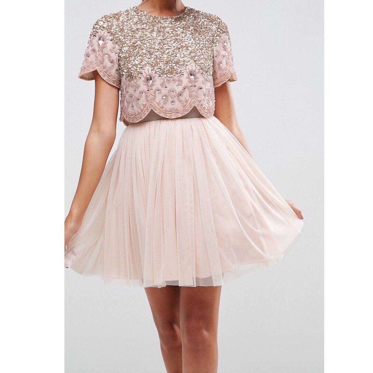 fb7355cb24a7 ASOS heavily embellished tulle mini dress. Wore once , very - Depop