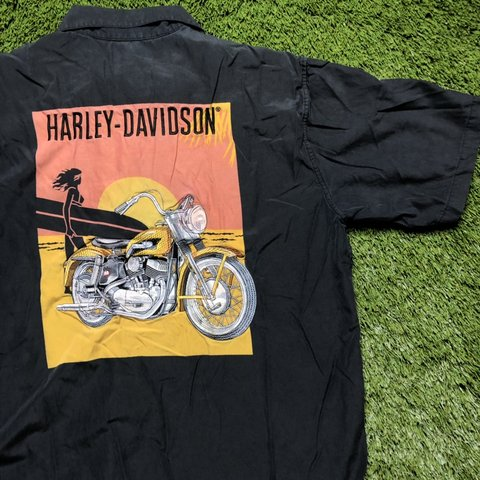 334bc2ab Harley Davidson Button Down Biker Shirt • size: LARGE • no • - Depop