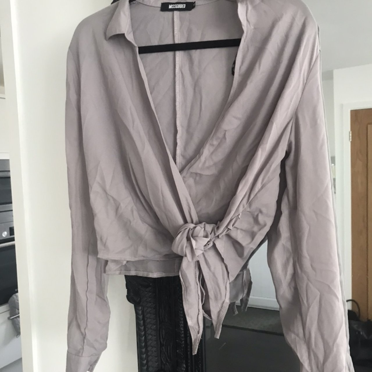 7d5d69602935 Missguided cropped wrap top. Worn