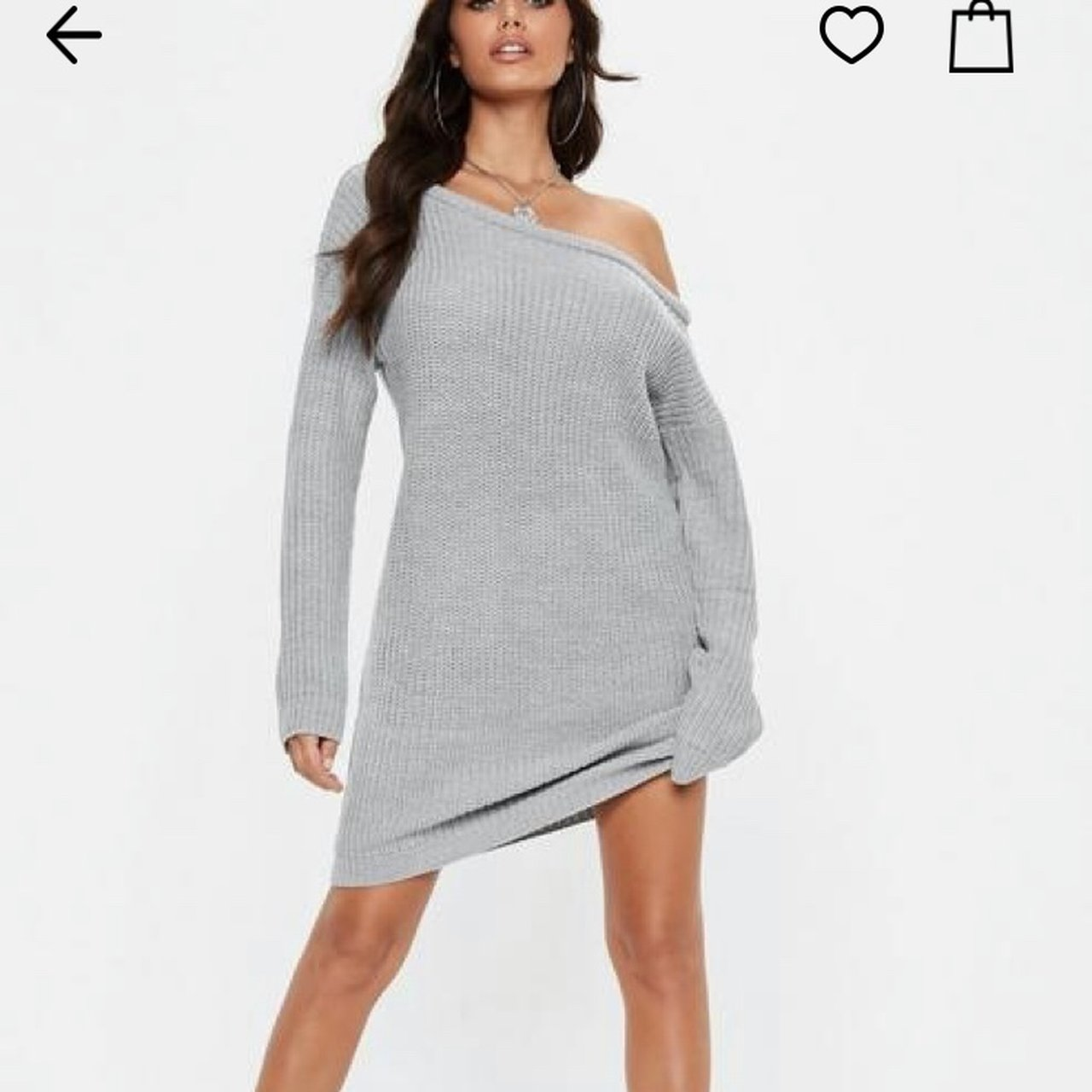 Missguided grey off shoulder knitted jumper dress S M - will - Depop 8110ec92b